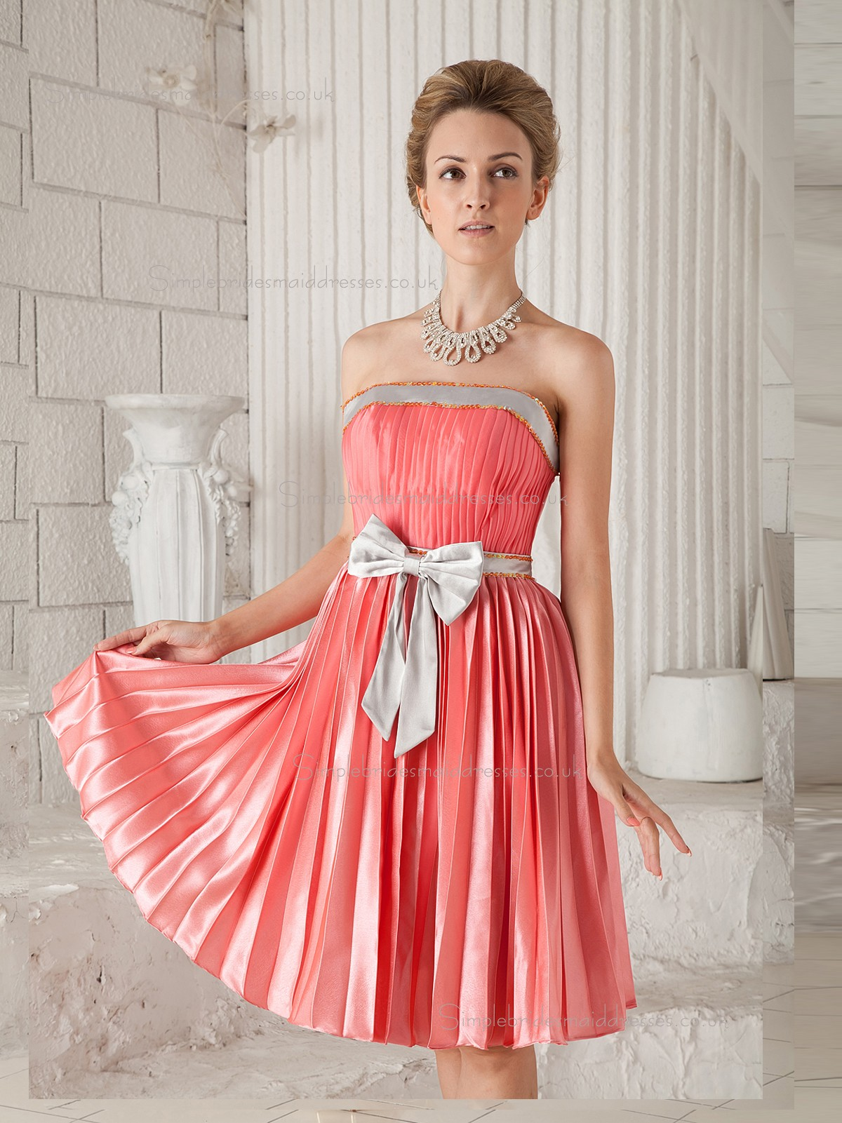 Buy UK Watermelon A-line Satin Natural Strapless Knee-length ...