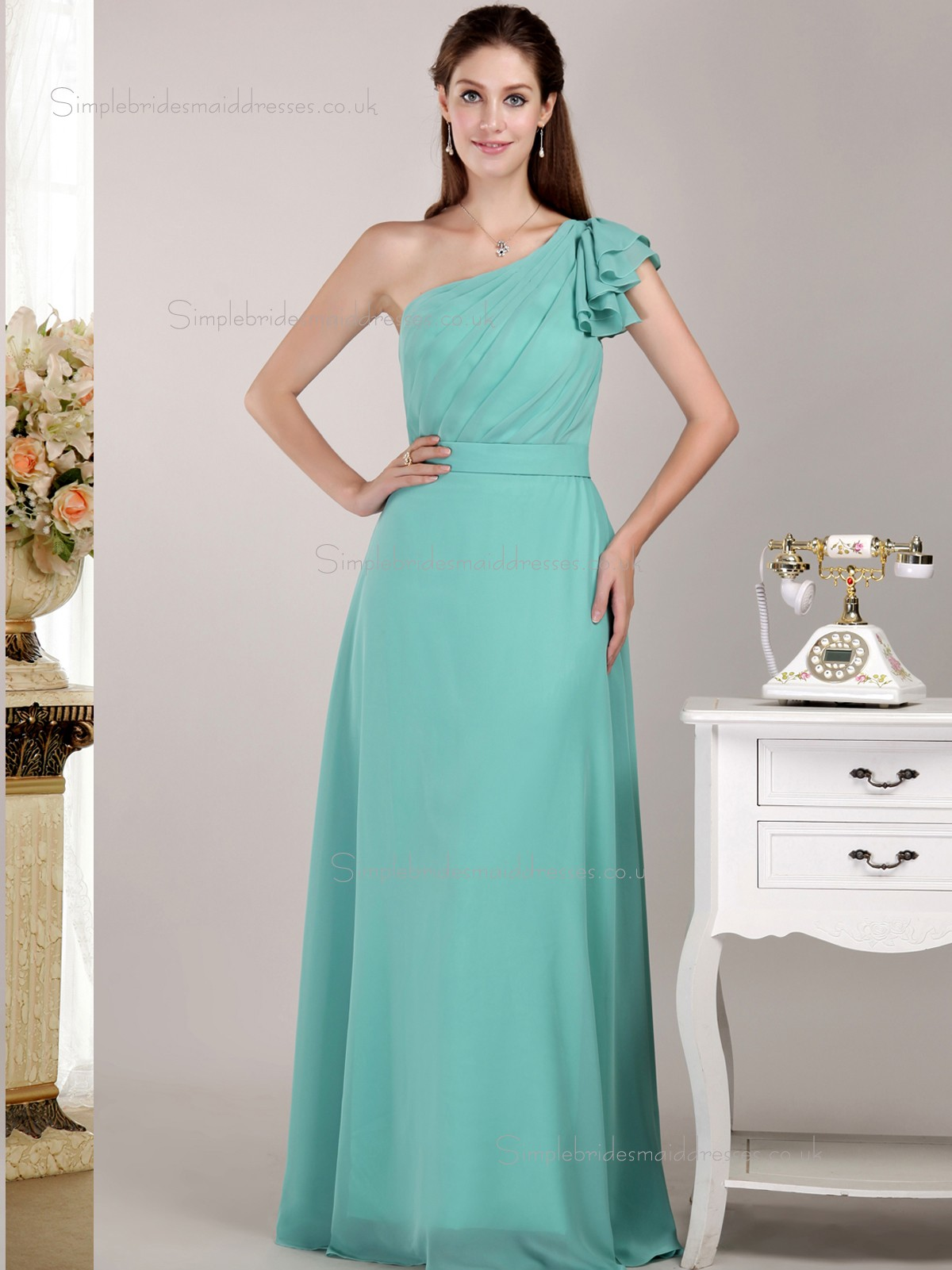 Buy uk jade floor length one shoulder natural chiffon a for Jade green wedding dresses