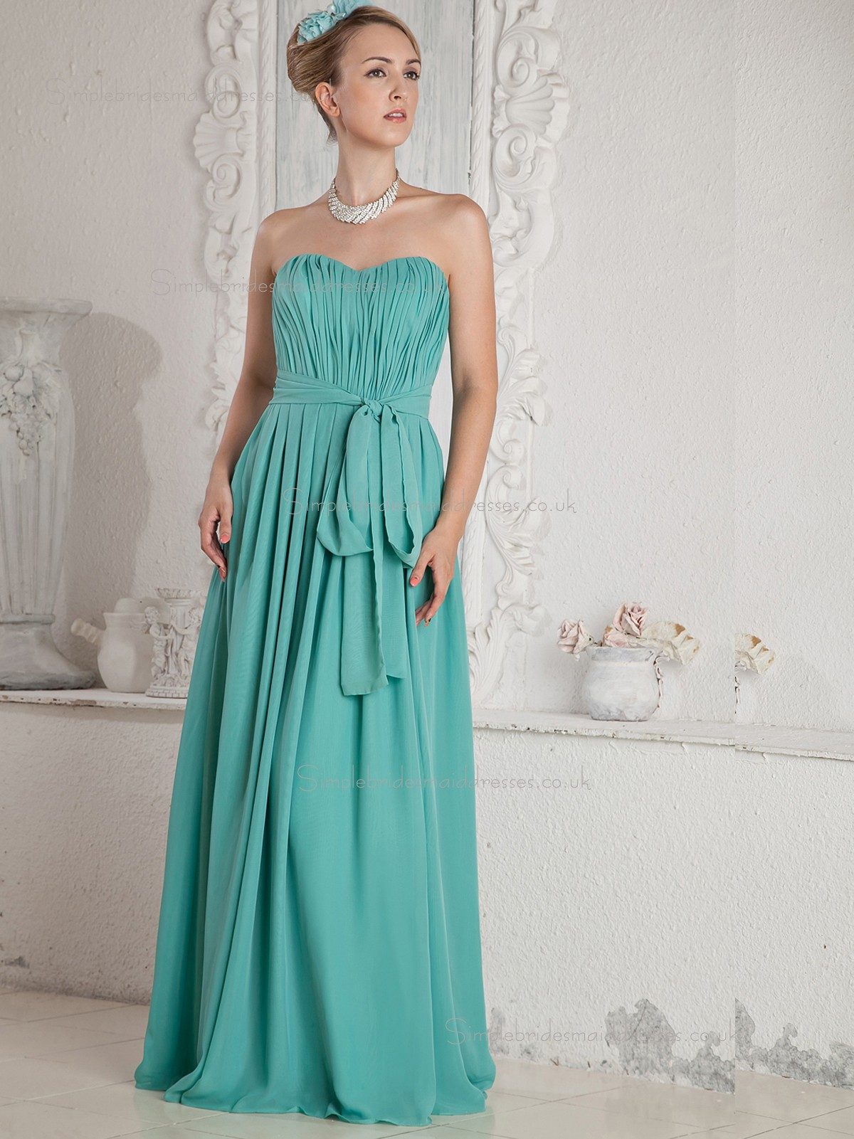 Buy uk jade sweetheart a line floor length empire chiffon for Jade green wedding dresses