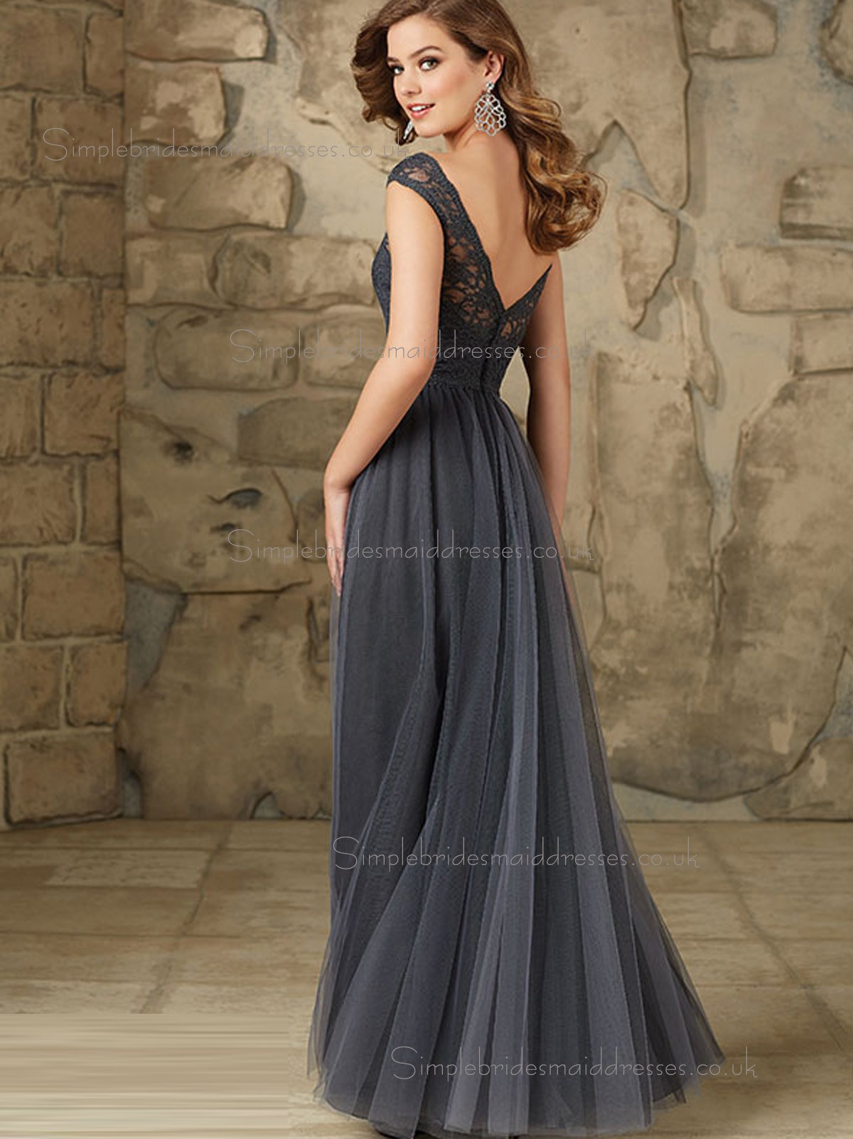 Discount Gray Tulle Floor length Belt Bridesmaid Dress