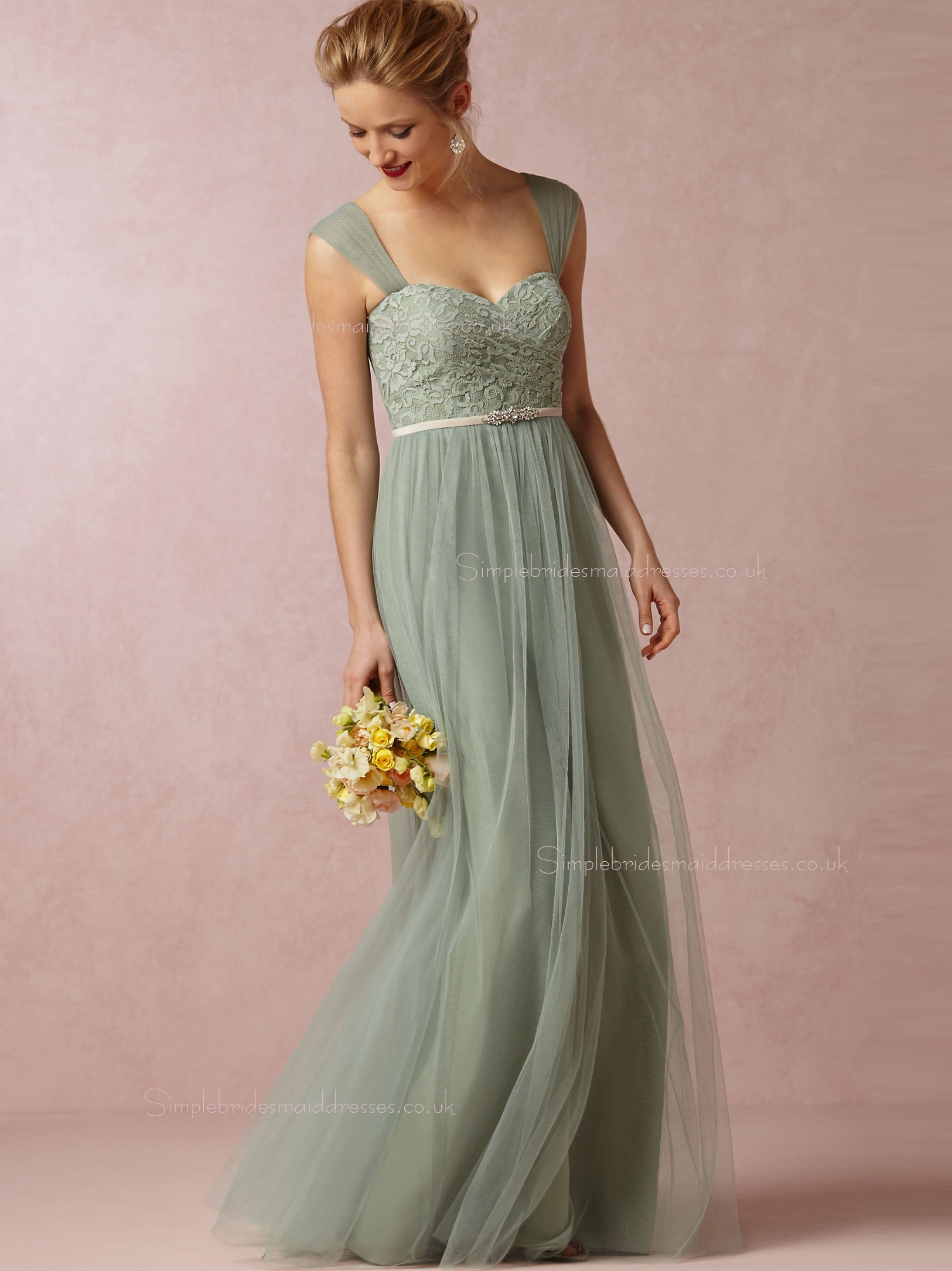 Shop custom green floor length a line bridesmaid dresses for Wedding dresses made in uk