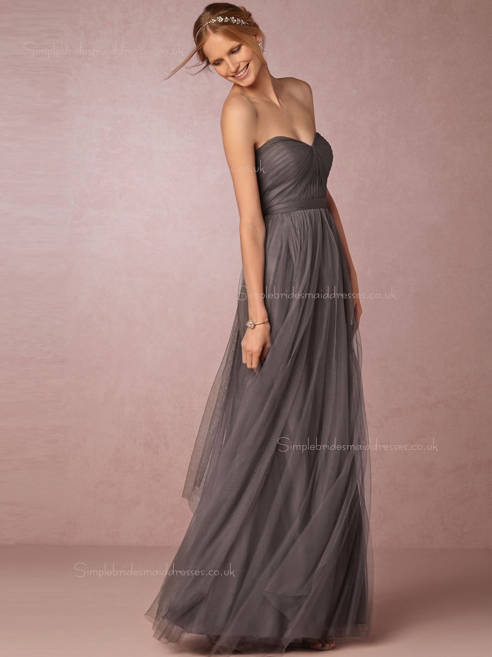 Shop Hot Style A line Tulle Gray Sleeveless Bridesmaid