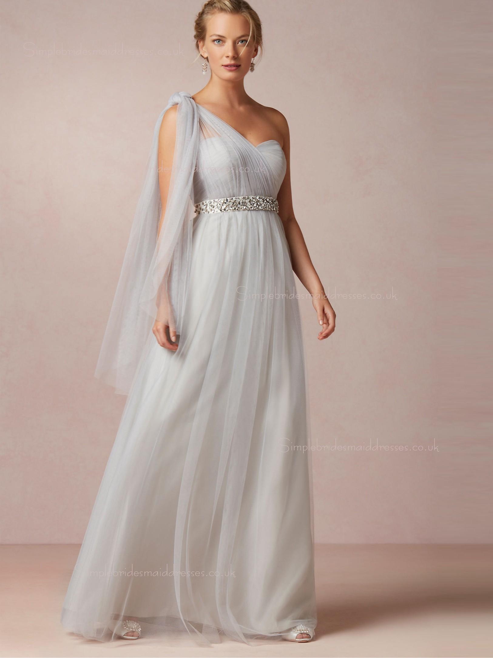 Shop stylish beading one shoulder floor length bridesmaid for Mid length wedding dress