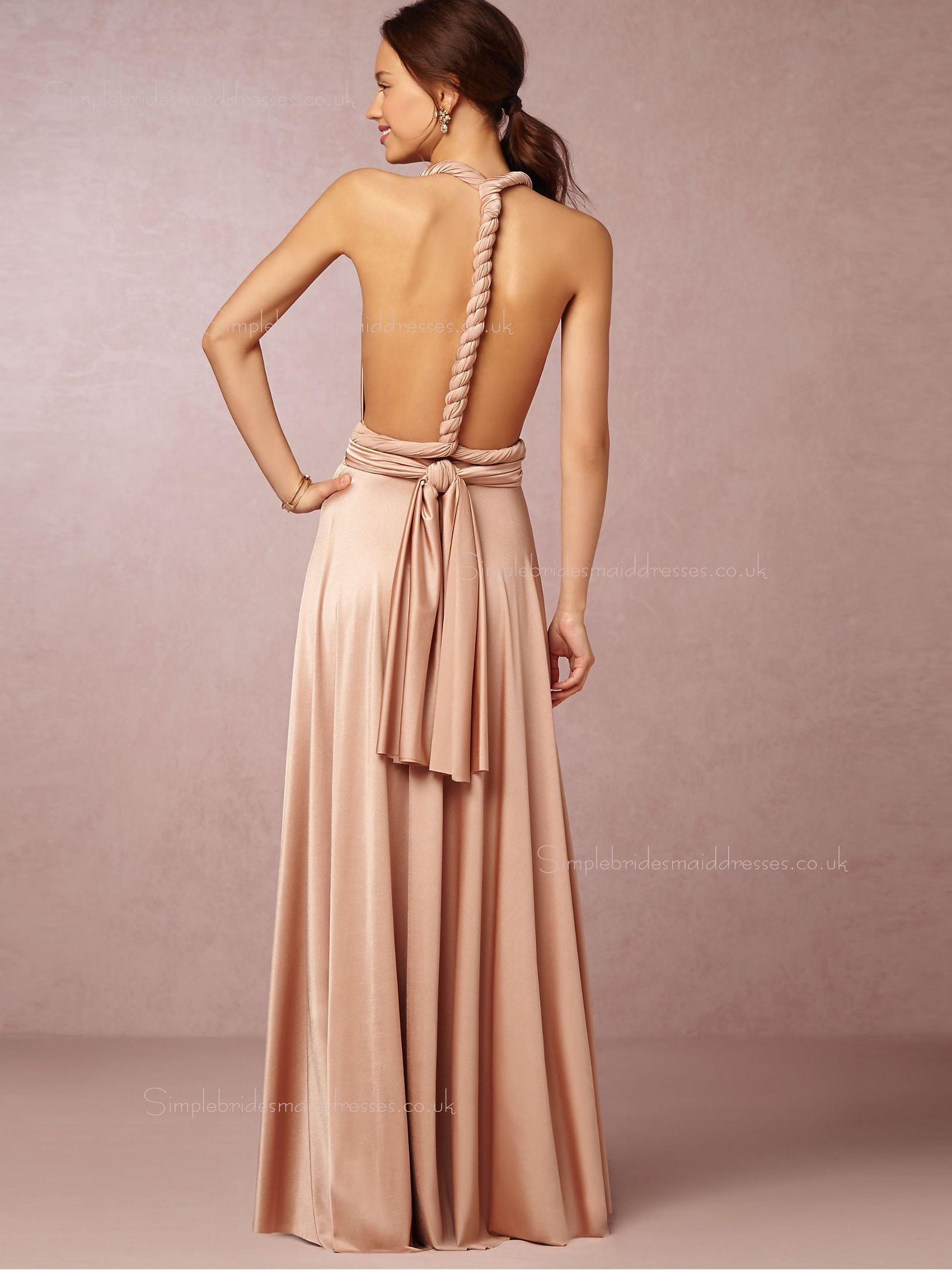 Shop 2016 Sexy V Neck Floor Length Pink Sleeveless
