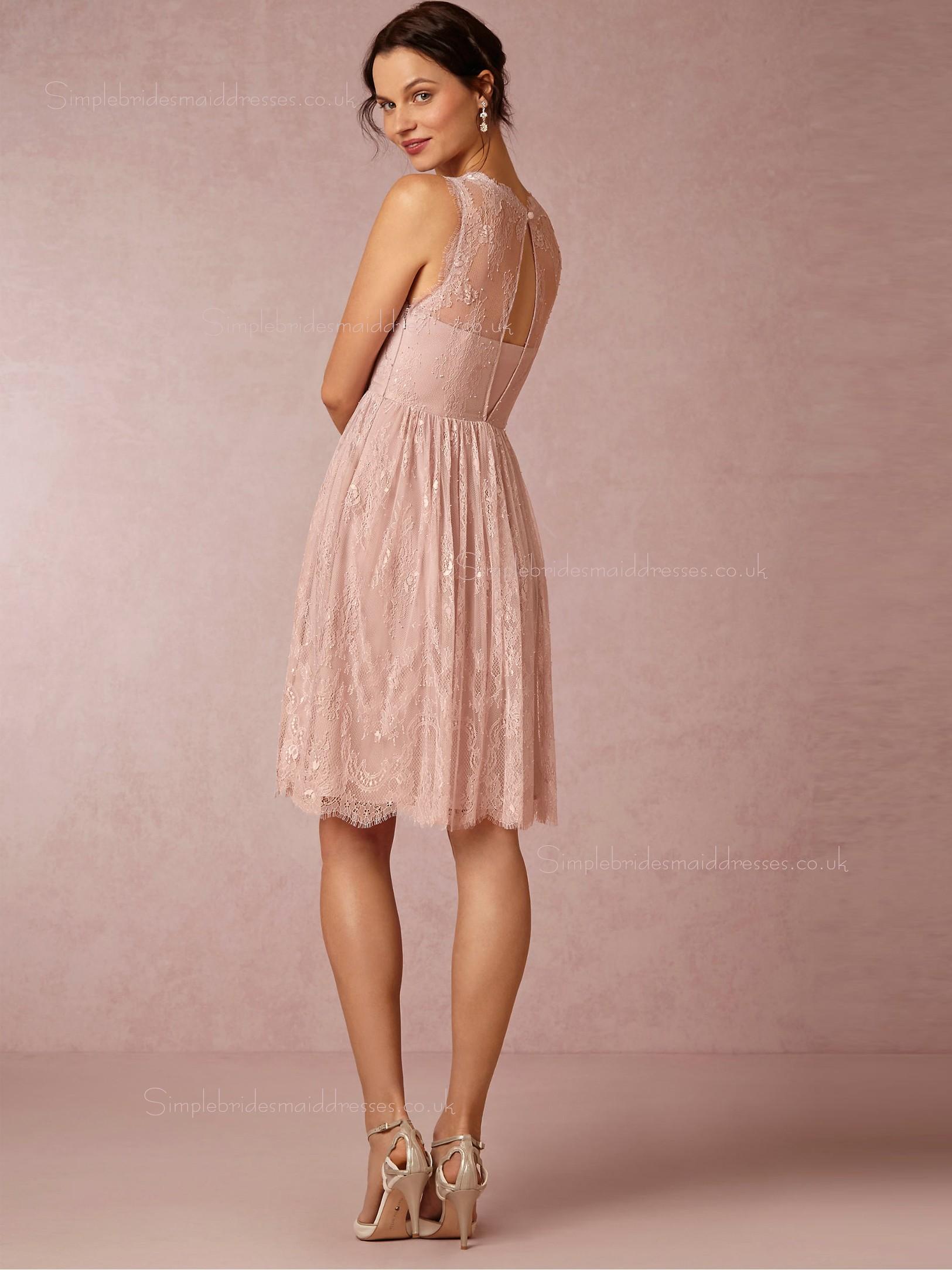 Shop 2016 Terrific Lace Knee length Pink Sleeveless