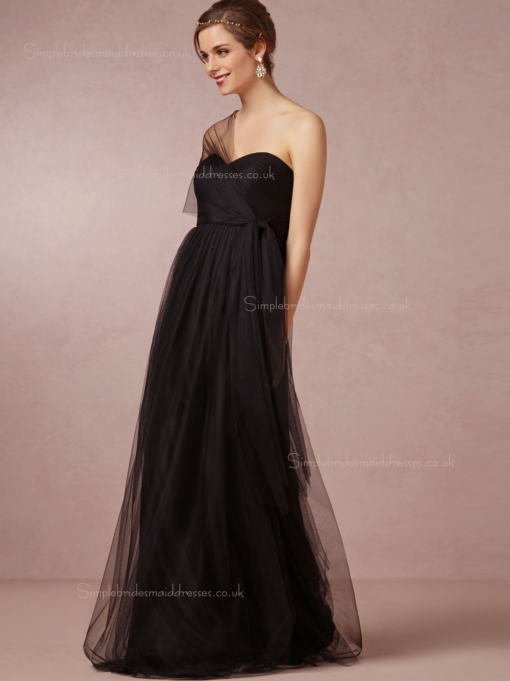 Shop Modest A line Ruched Sweetheart Black Empire