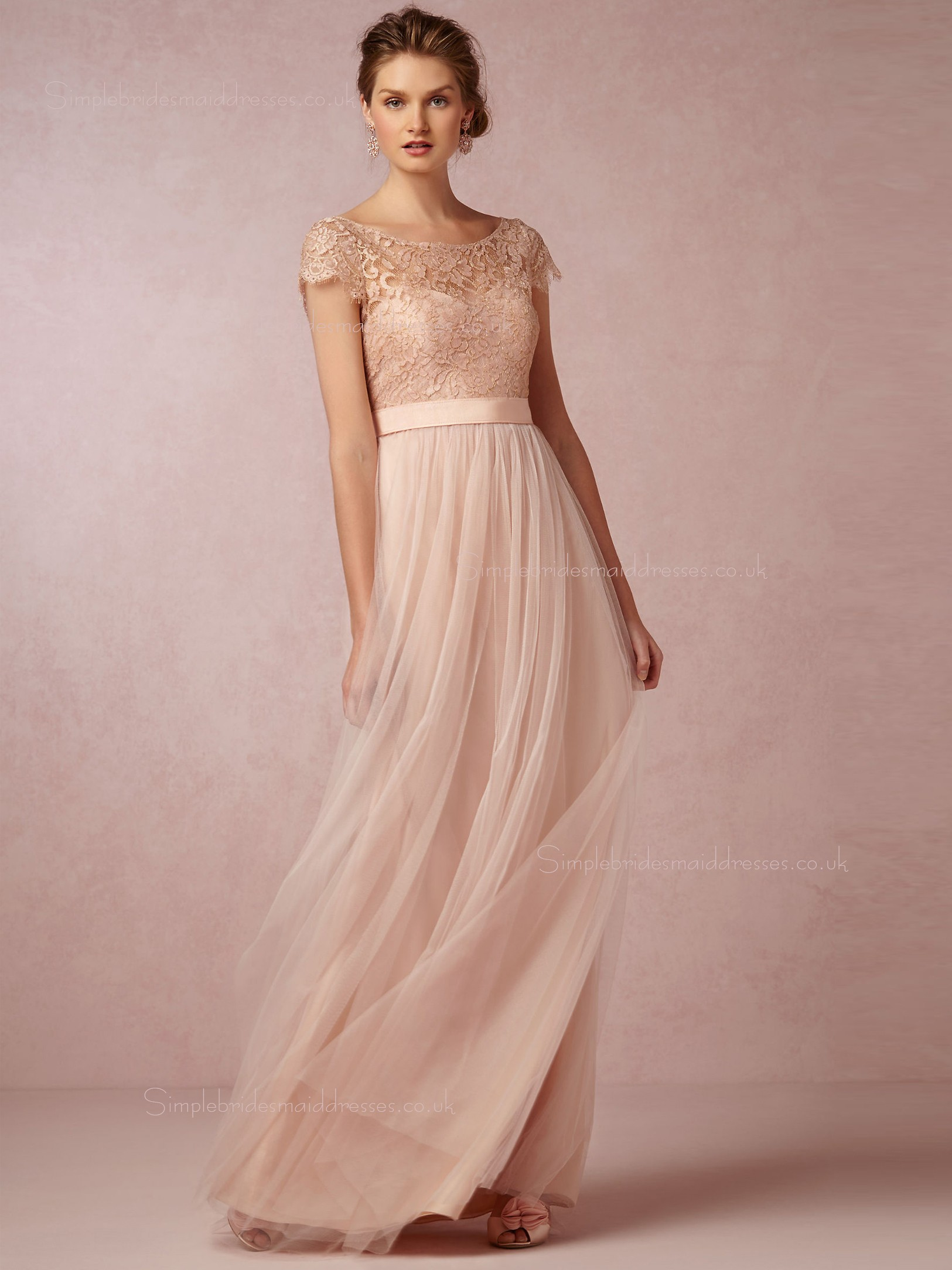 Shop Elegant A-line Bateau Pearl Pink Cap Sleeve Bridesmaid Dresses ...
