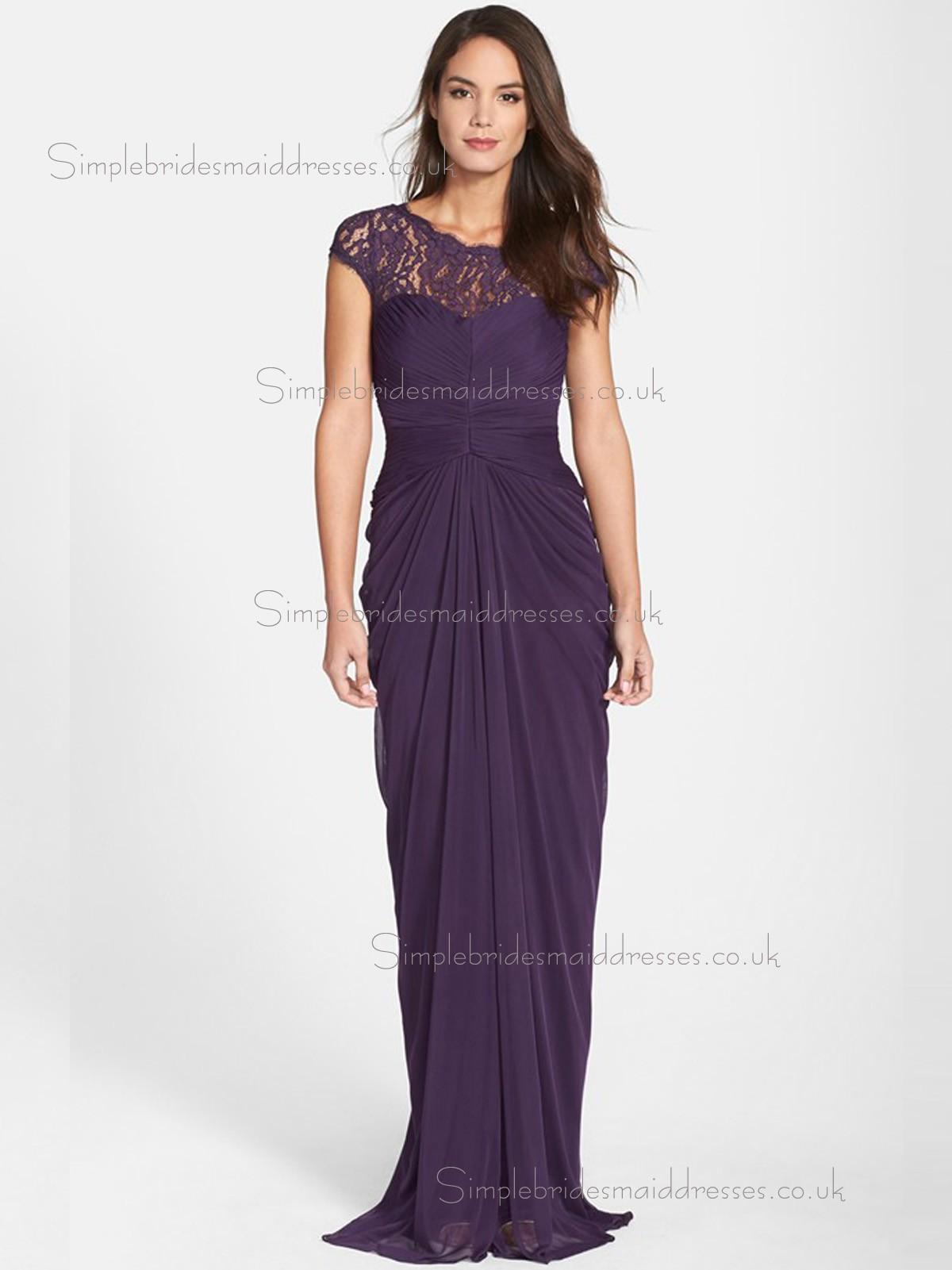 Vintage Lace Sweep Regency Chiffon Bridesmaid Dresses