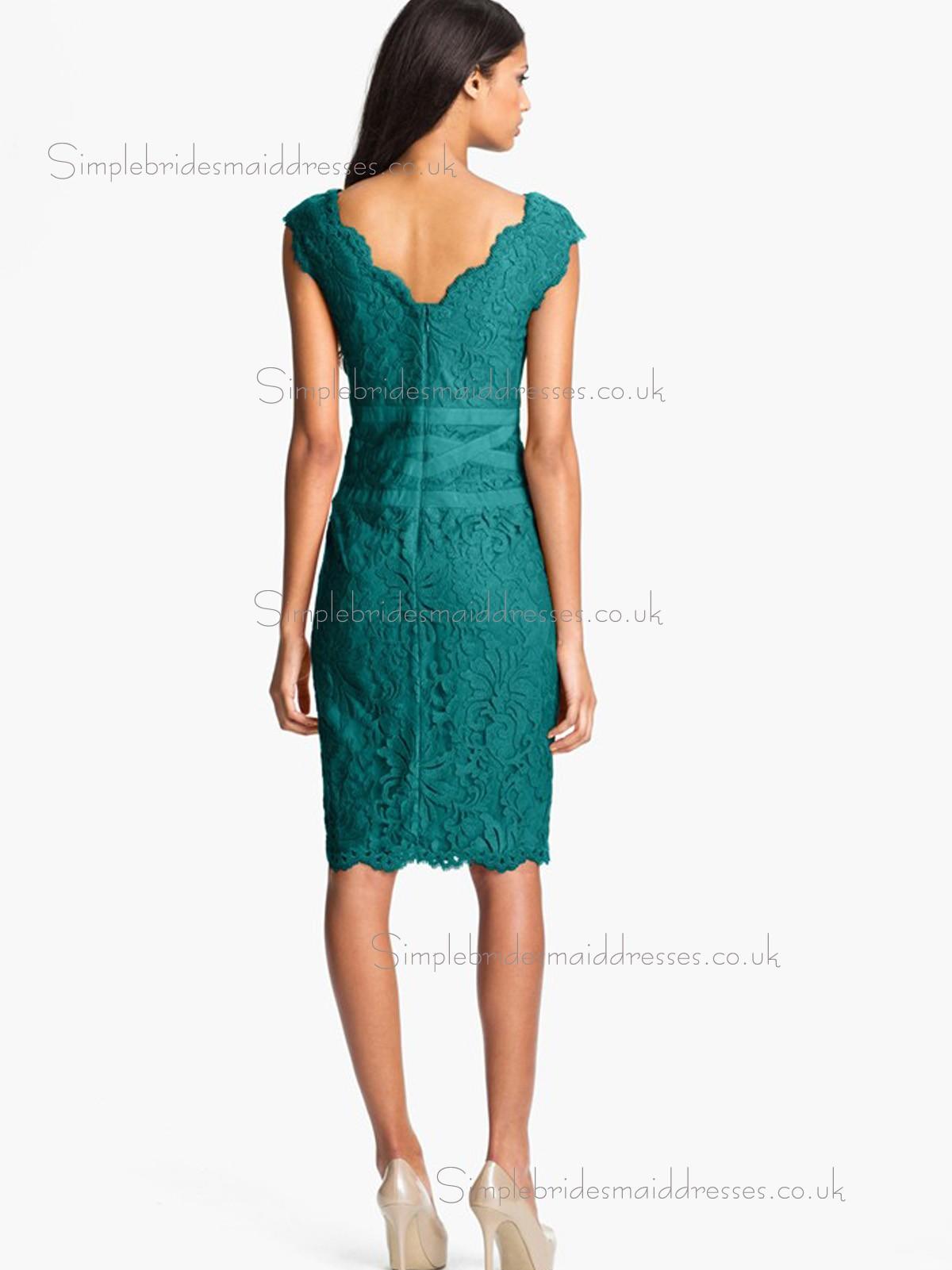 Vintage knee length jade applique lace bridesmaid dresses for Jade green wedding dresses