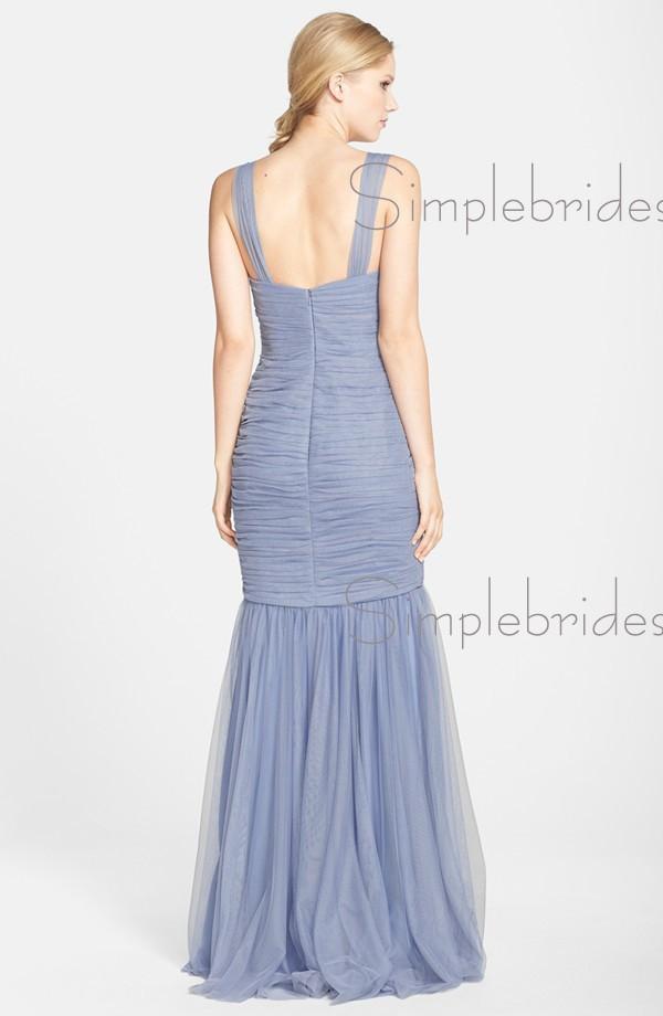 elegant floorlength ruched tulle lilac bridesmaid dresses