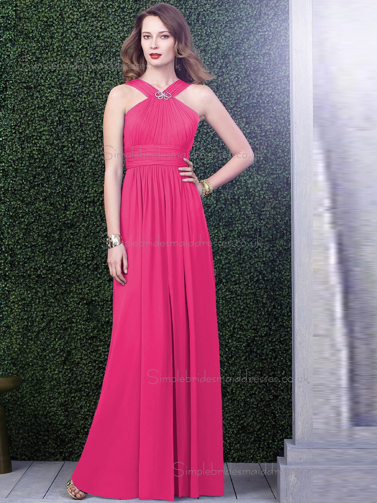 Celebrity Hot Pink Chiffon Floor length Bridesmaid Dresses
