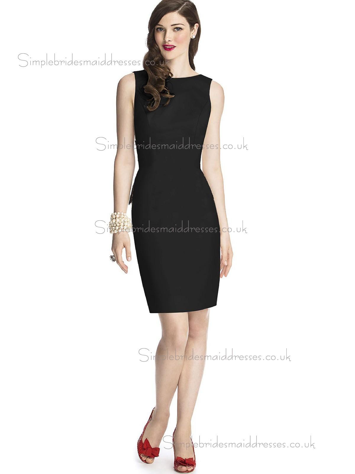 Elegant Best Knee length Satin Black Bridesmaid Dresses