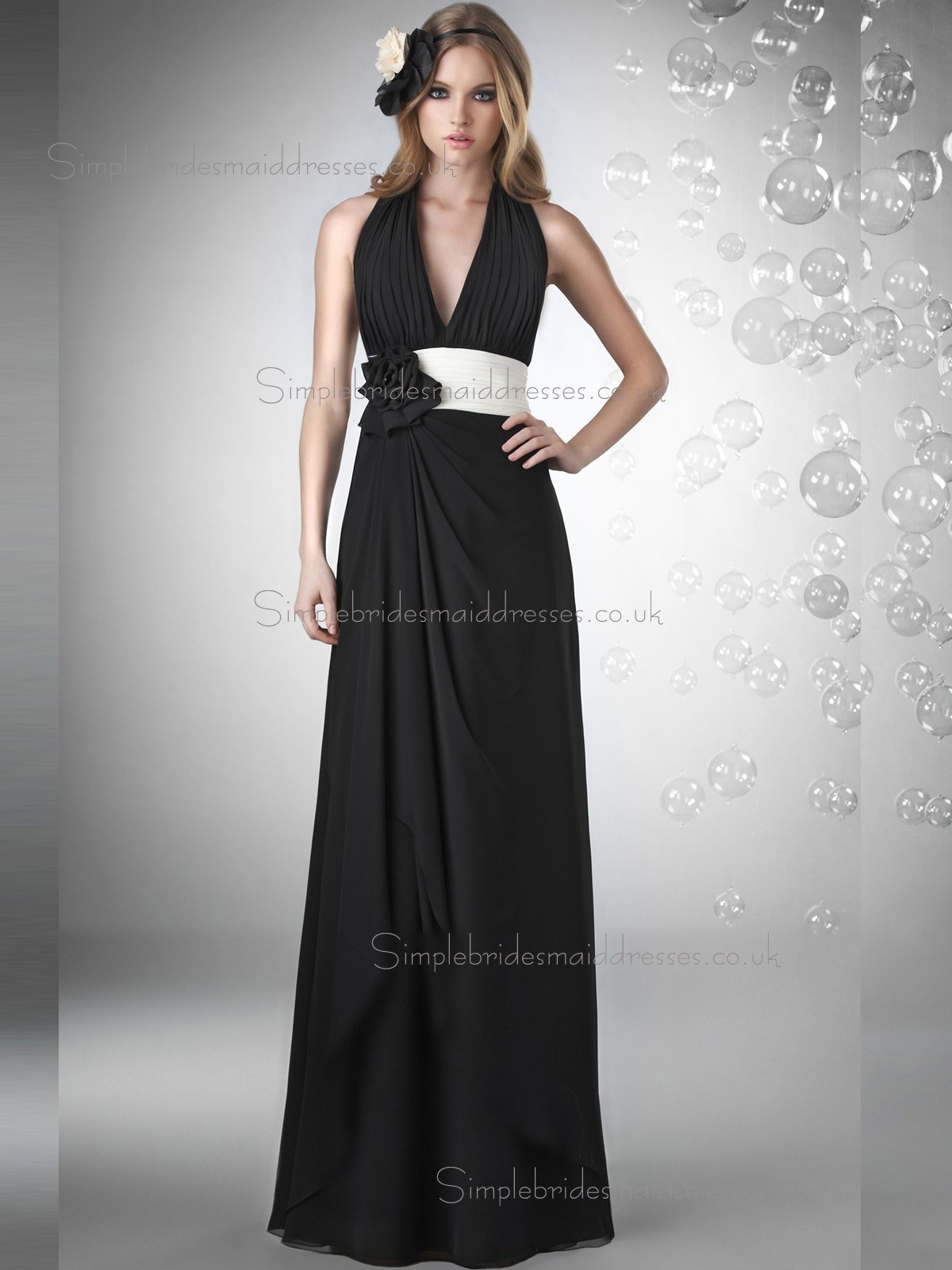 Fitted Amazing Floor length Black Hand Made Flower Chiffon
