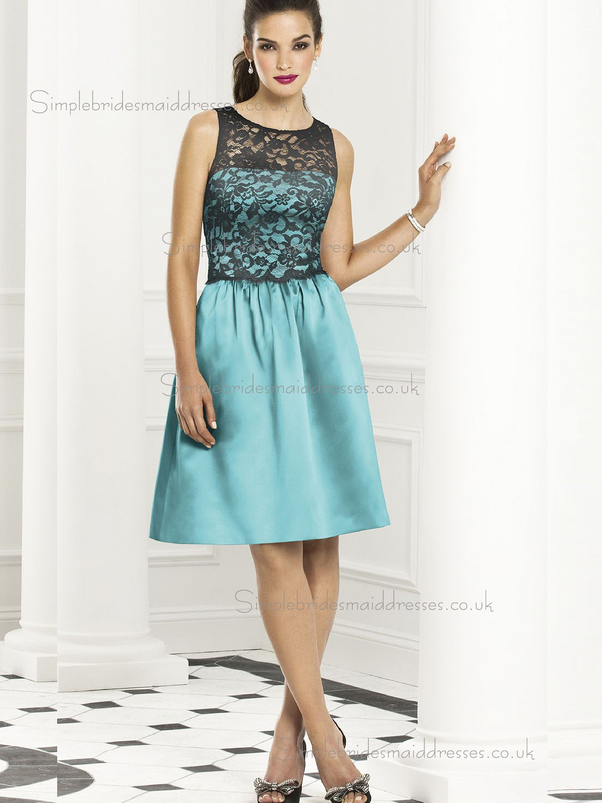 Budget best short length blue satin lace bridesmaid for Budget wedding dresses uk