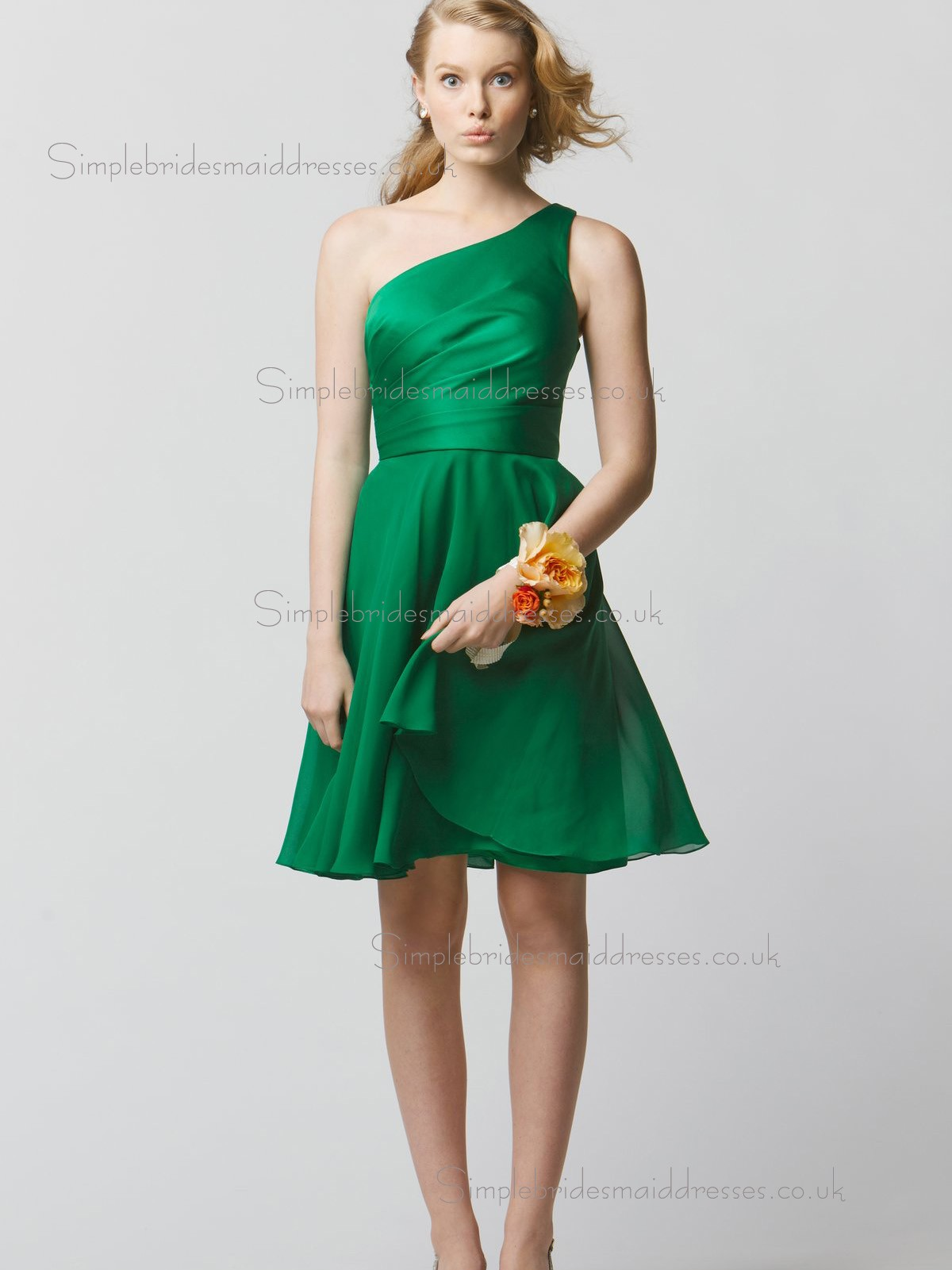Cheap stunning green short length chiffon bridesmaid for Short green wedding dresses