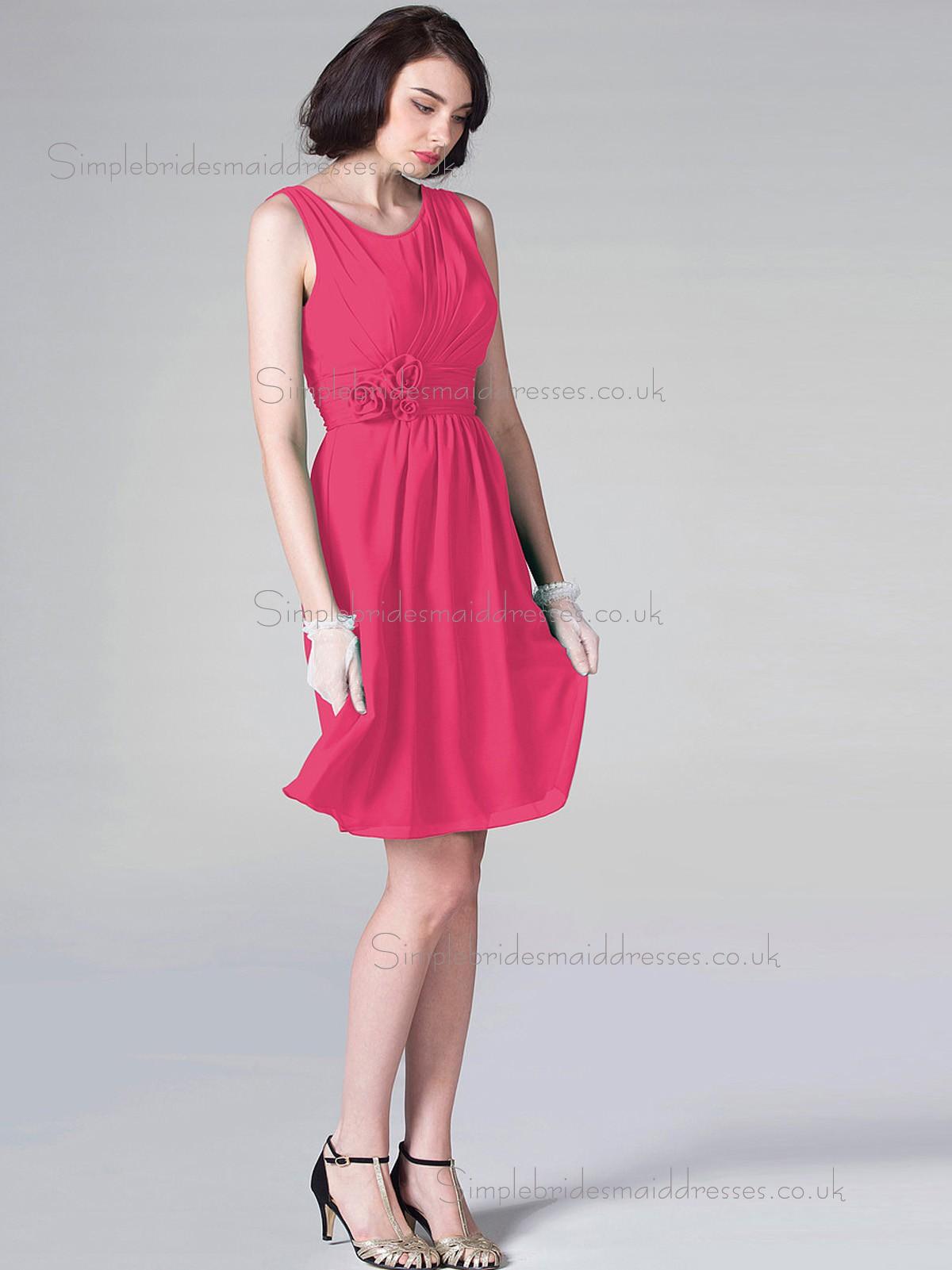 62ab44f2904 Budget Discount Short-length Hand Made Flower Hot Pink Chiffon Bridesmaid  Dresses ...