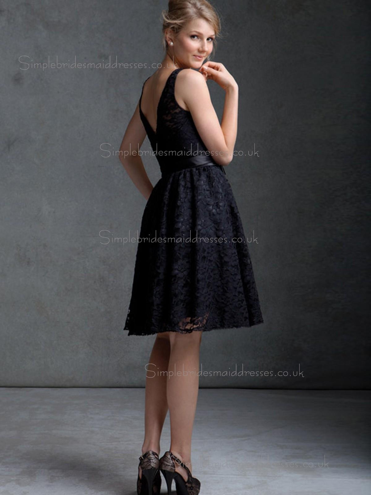 Elegant Short length Black Lace Belt Bridesmaid Dresses