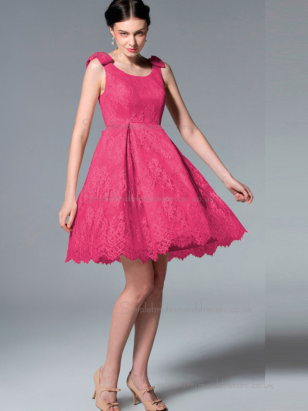 Uk lace satin short length hot pink bridesmaid dresses ombrellifo Image collections