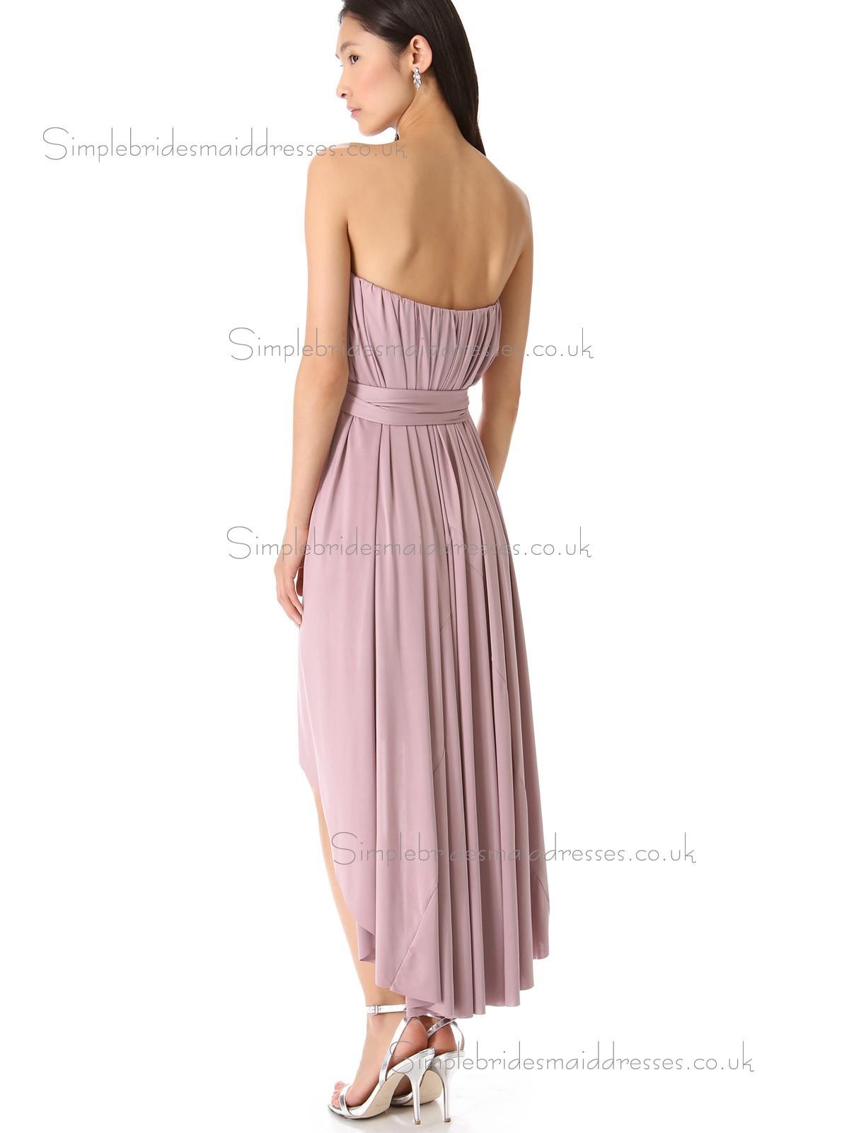 Elegant Best Tea Length Chiffon Belt Lilac Bridesmaid