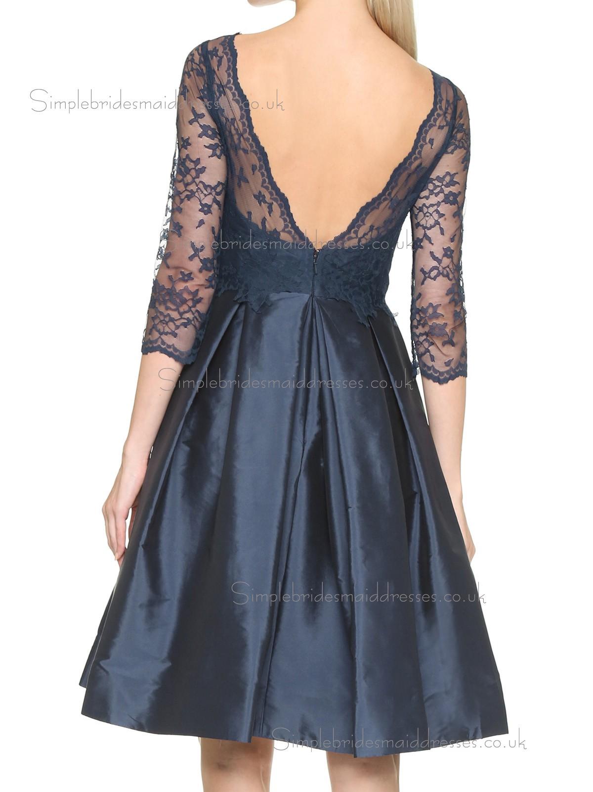 Vintage Dark Navy Short length Taffeta Lace Bridesmaid
