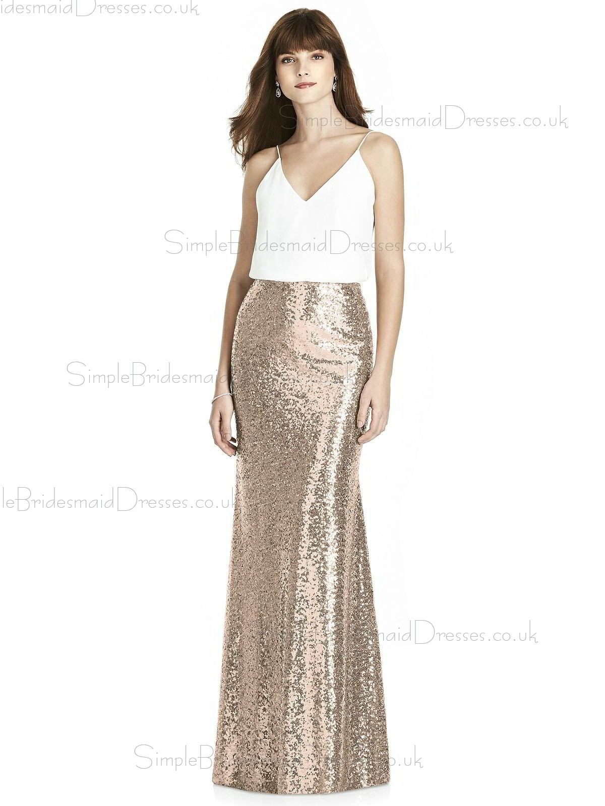 b41c858101 ... Backless Bridesmaid Dress. Cheap Stunning Column   Sheath Sequin V-neck  Floor-length Gold Sleeveless Empire Waist ...