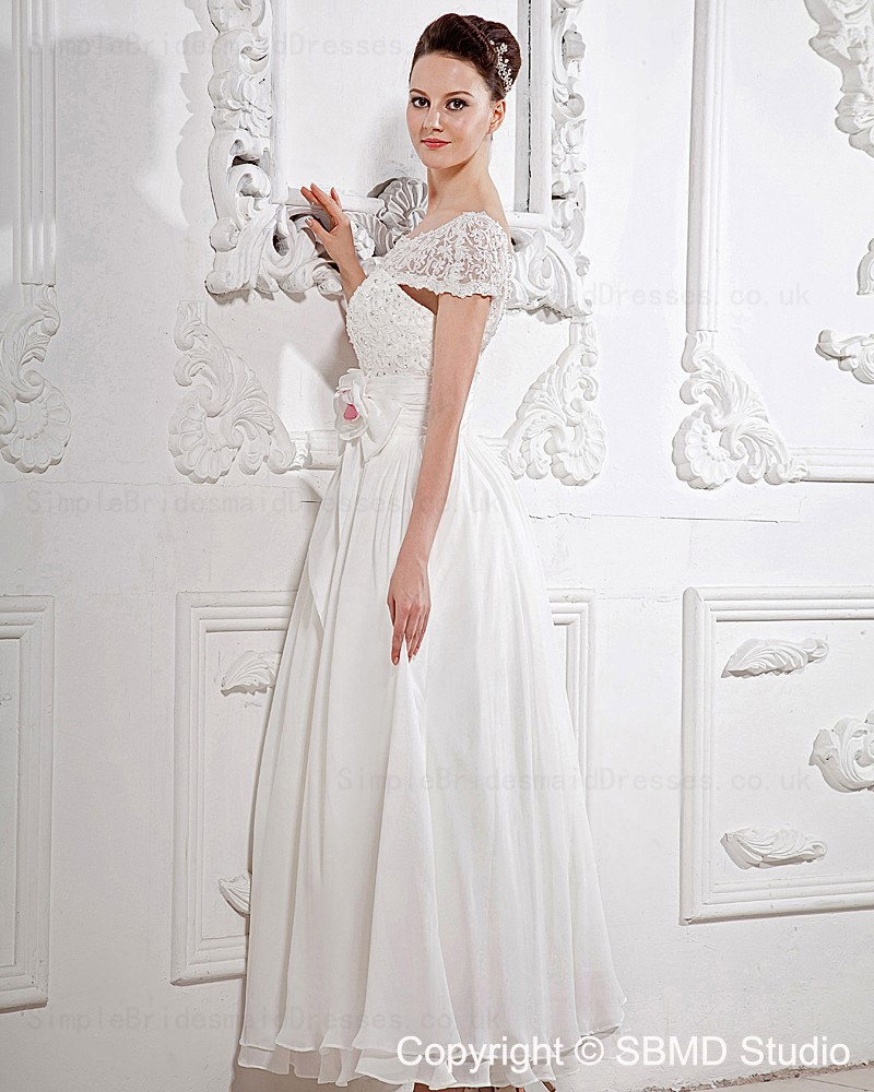 Simple Ankle Length Lace Wedding Dresses White Three: Ankle Length Zipper Lace / Beading / Hand Made Flower