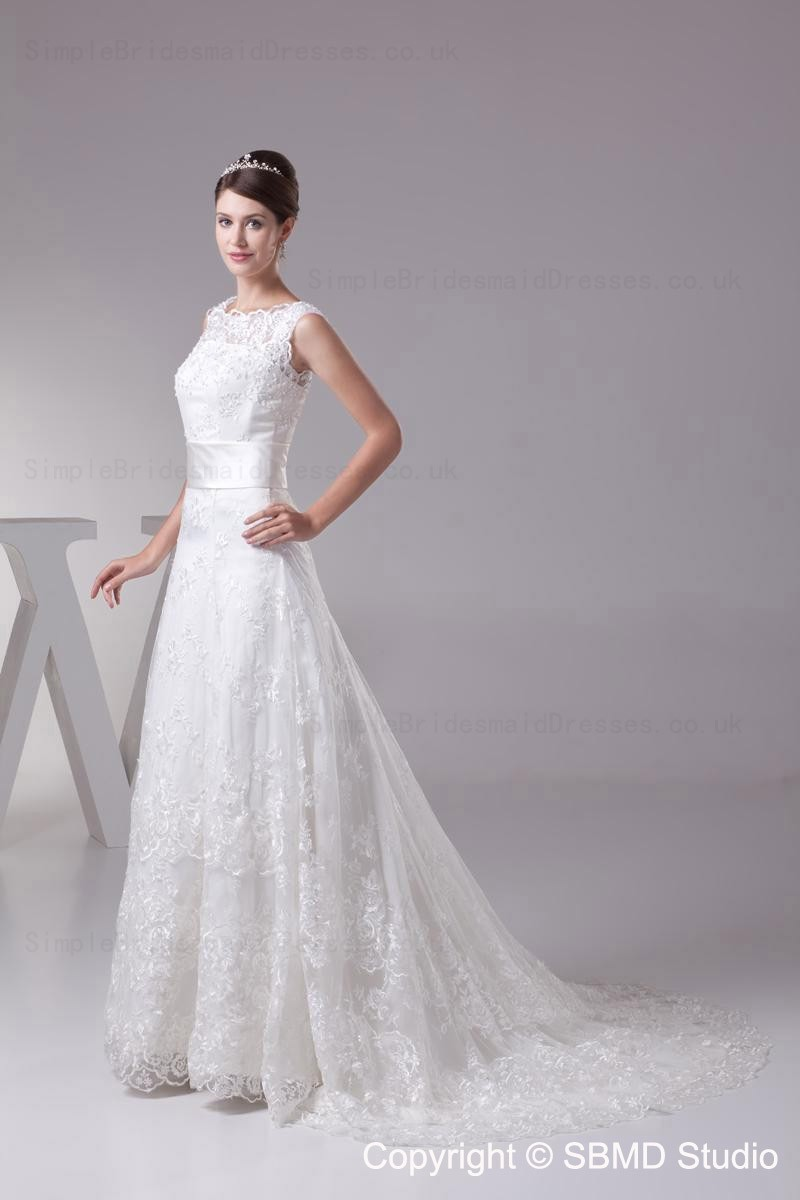 Lace bateau lace up a line empire wedding dress for Empire wedding dresses uk