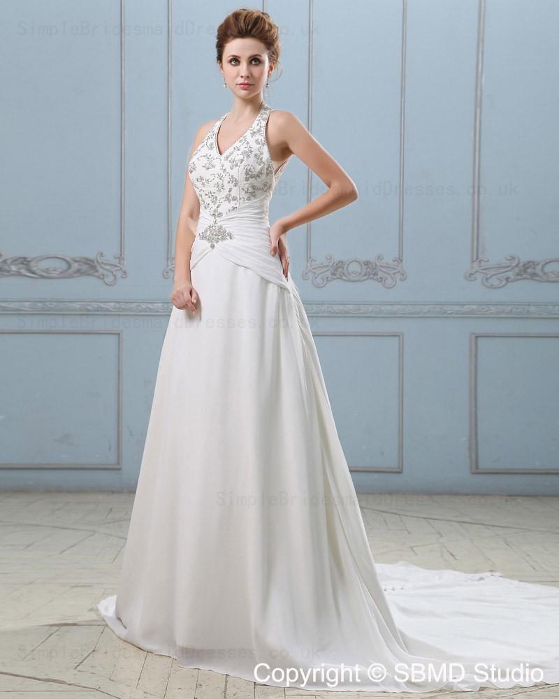V neck empire satin chiffon backless applique beading for Empire wedding dresses uk