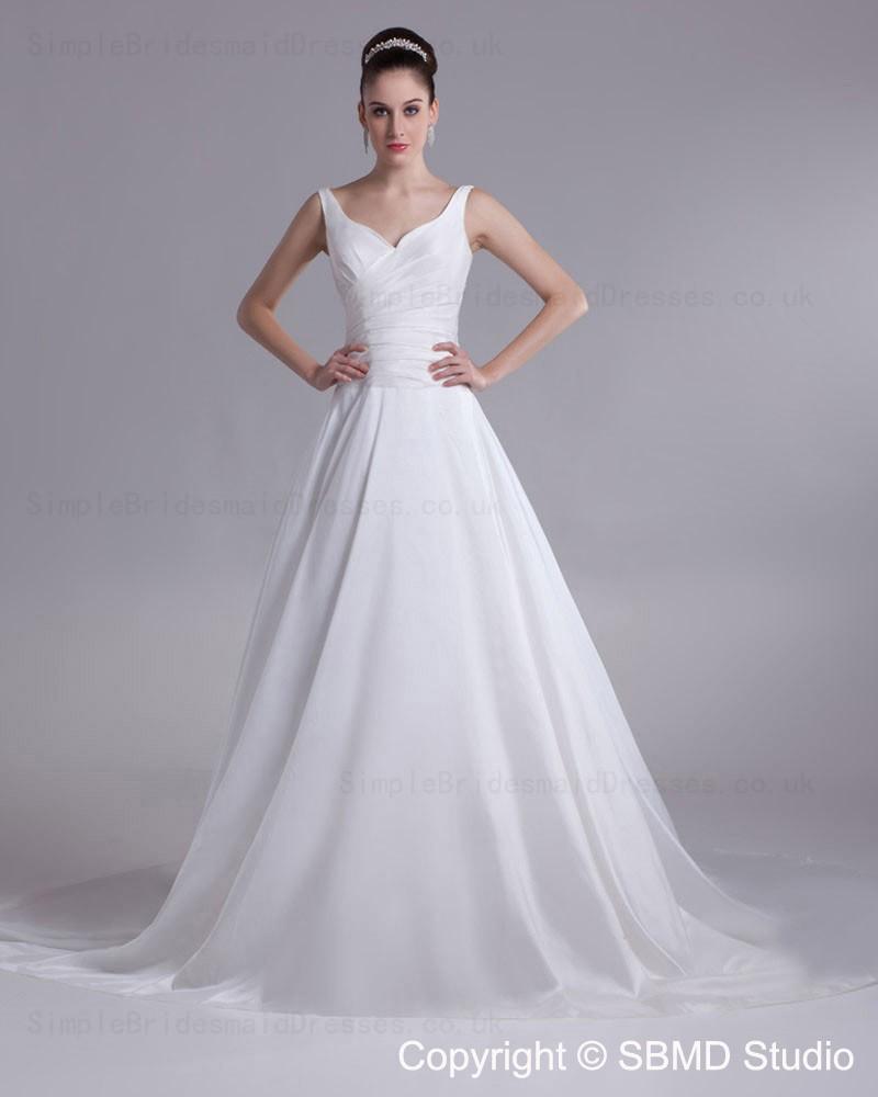 Simple A Line Wedding Dress: Straps Sleeveless Satin Natural Ivory Wedding Dress