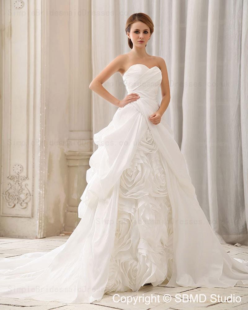 Sweetheart taffeta zipper empire ruffles hand made for Empire wedding dresses uk