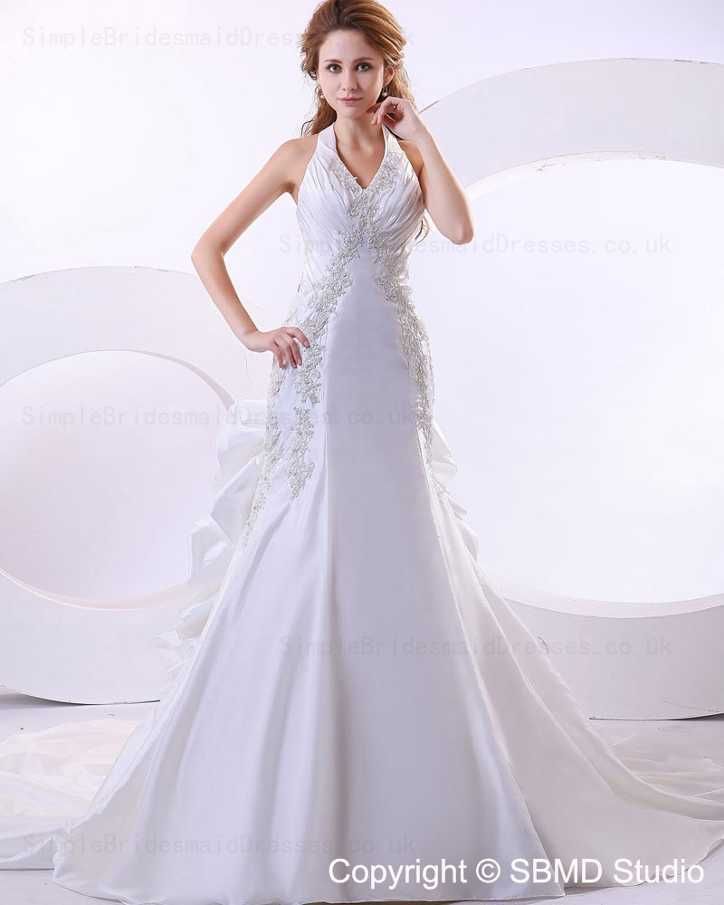 Sleeveless Beading Applique Empire A Line Court Wedding