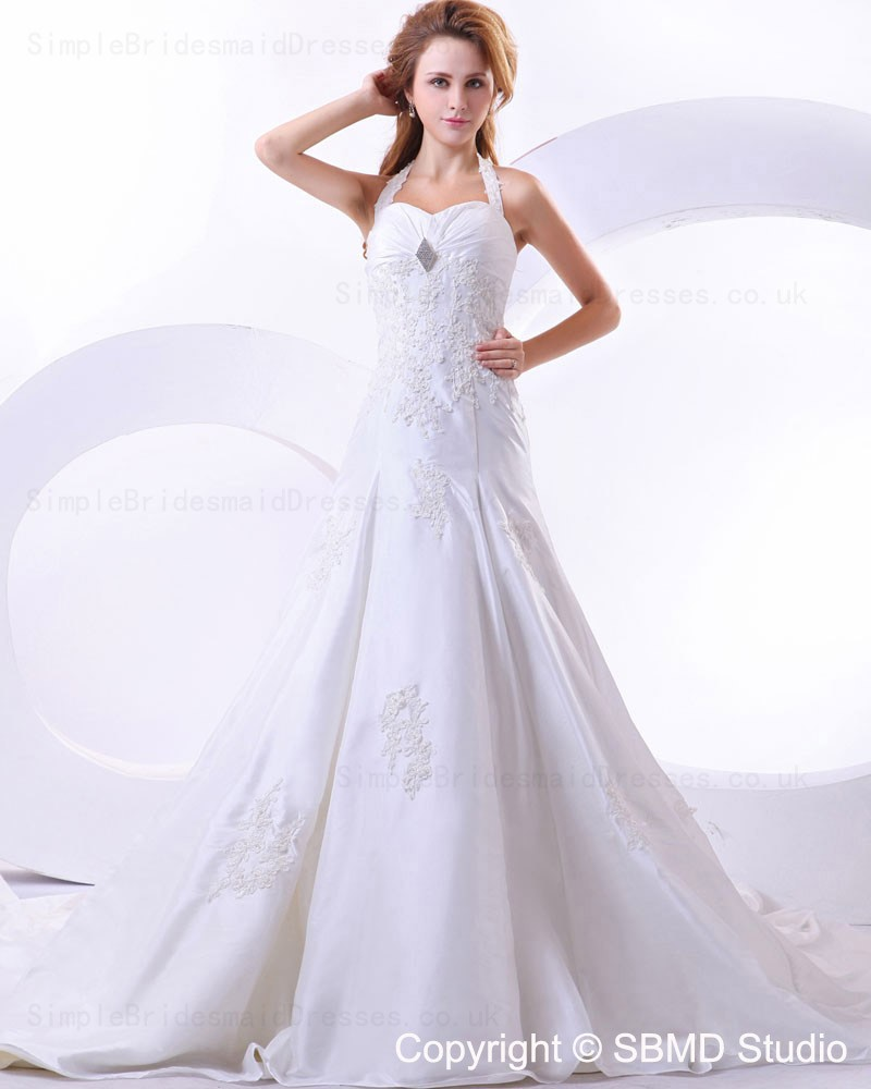 Ivory cathedral a line halter taffeta wedding dress for A line taffeta wedding dress