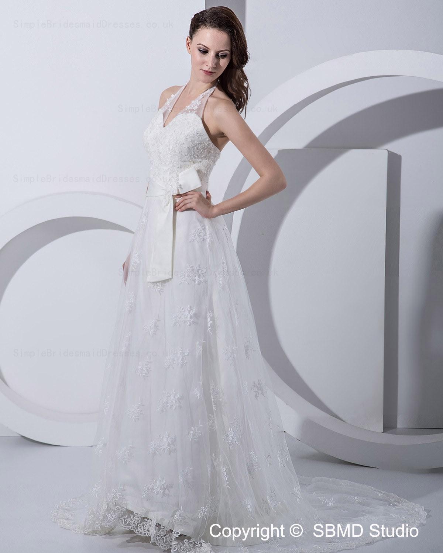 Empire halter zipper court a line wedding dress for Empire wedding dresses uk