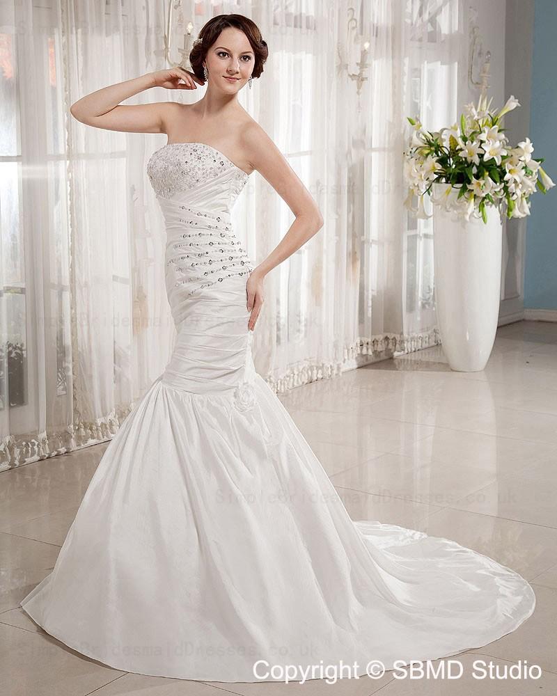 A line empire lace up strapless bateau court wedding for Empire wedding dresses uk
