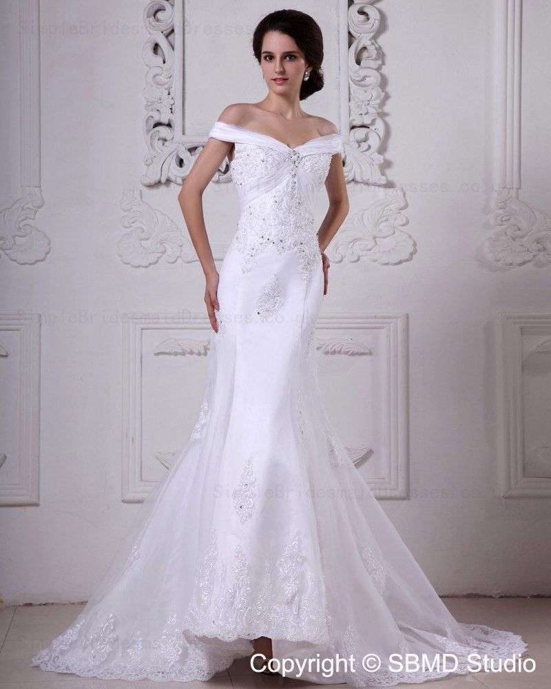 Ivory off the shoulder court organza satin empire for Empire wedding dresses uk
