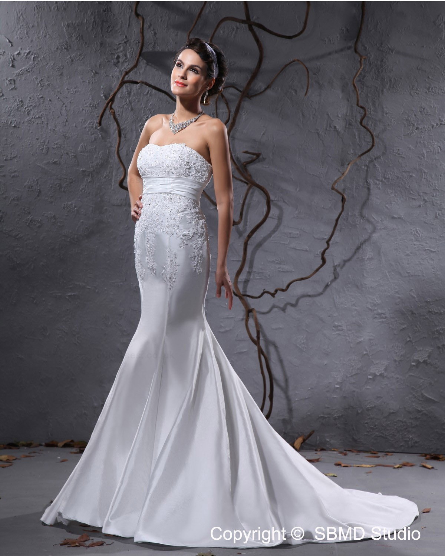 Applique beading ruffles mermaid taffeta court zipper for Taffeta mermaid wedding dress