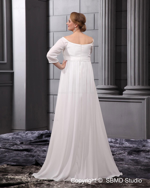 Ivory beadings sash sleeve floor length empire wedding for Empire wedding dresses uk