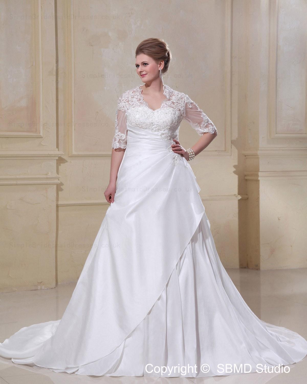 Size Court Long V Neck Ivory Wedding Dress SBWD1235