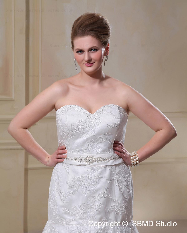 Satin Lace Dropped Strapless Sleeveless Size Wedding