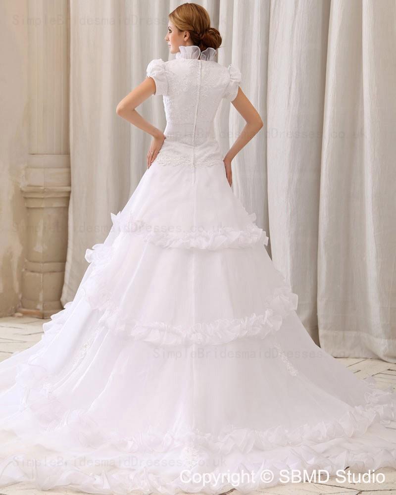 Empire ruffles applique beading satin organza lace for Empire wedding dresses uk