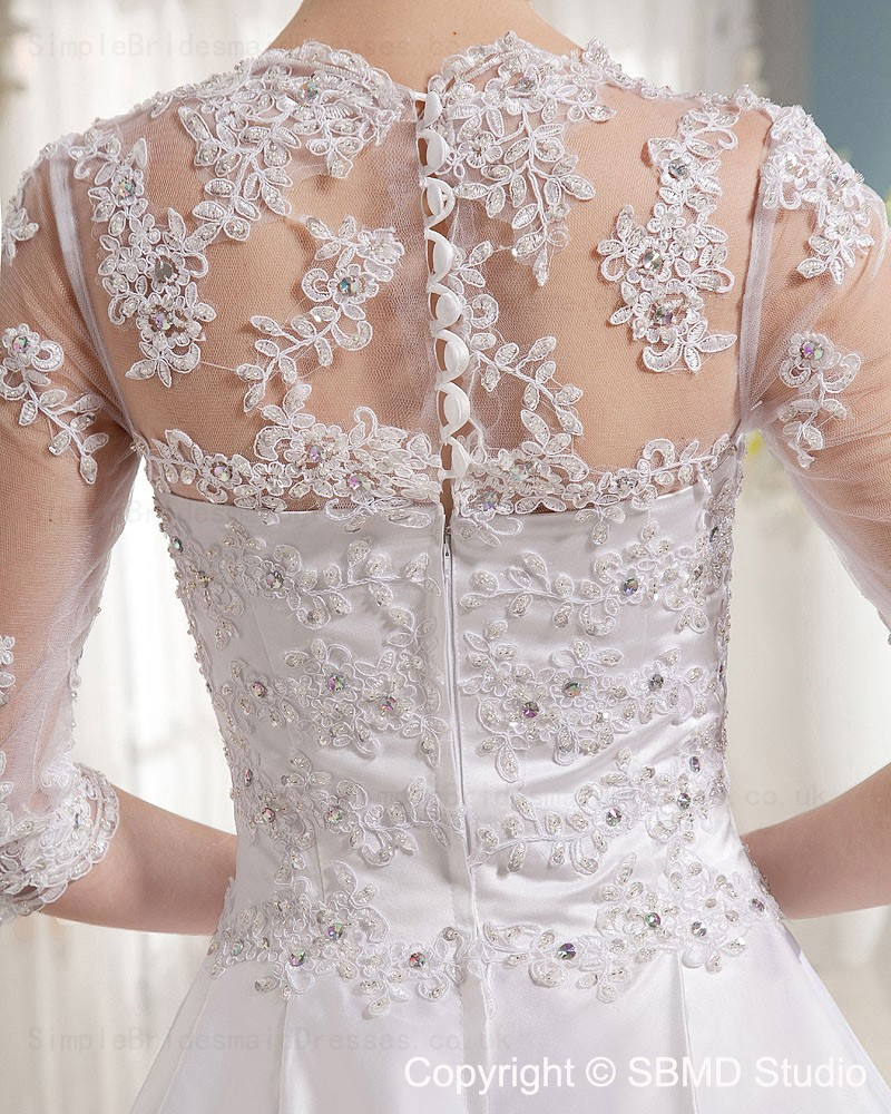 Long Zipper Natural V Neck Chapel Wedding Dress