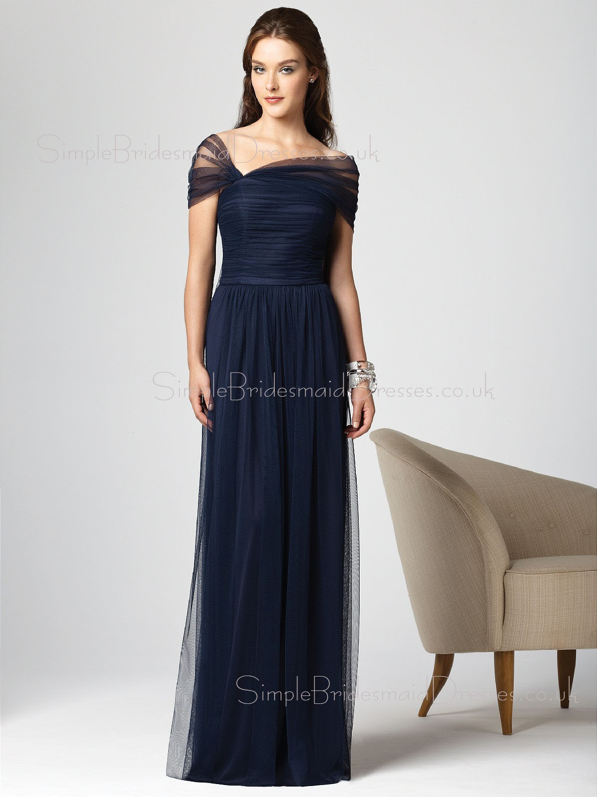 Dark Navy Floor length Natural Sheath Short Sleeve