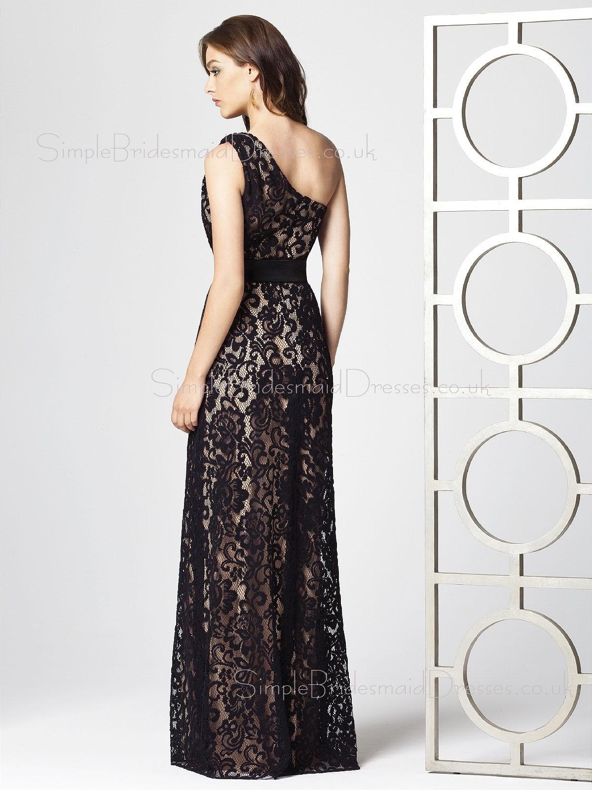 Sleeveless Black Sash A line e Shoulder Bridesmaid Dress