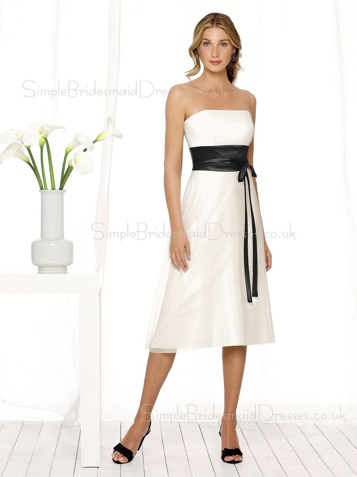 Ivory sleeveless knee length strapless empire bridesmaid for Ivory knee length wedding dresses