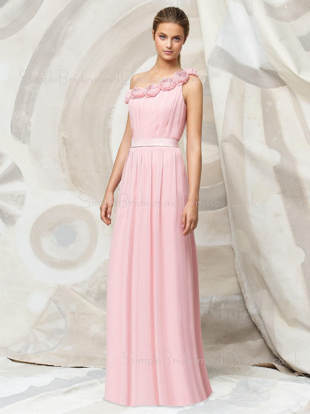 Pink Floor-length Chiffon Natural A-line Bridesmaid Dress ...