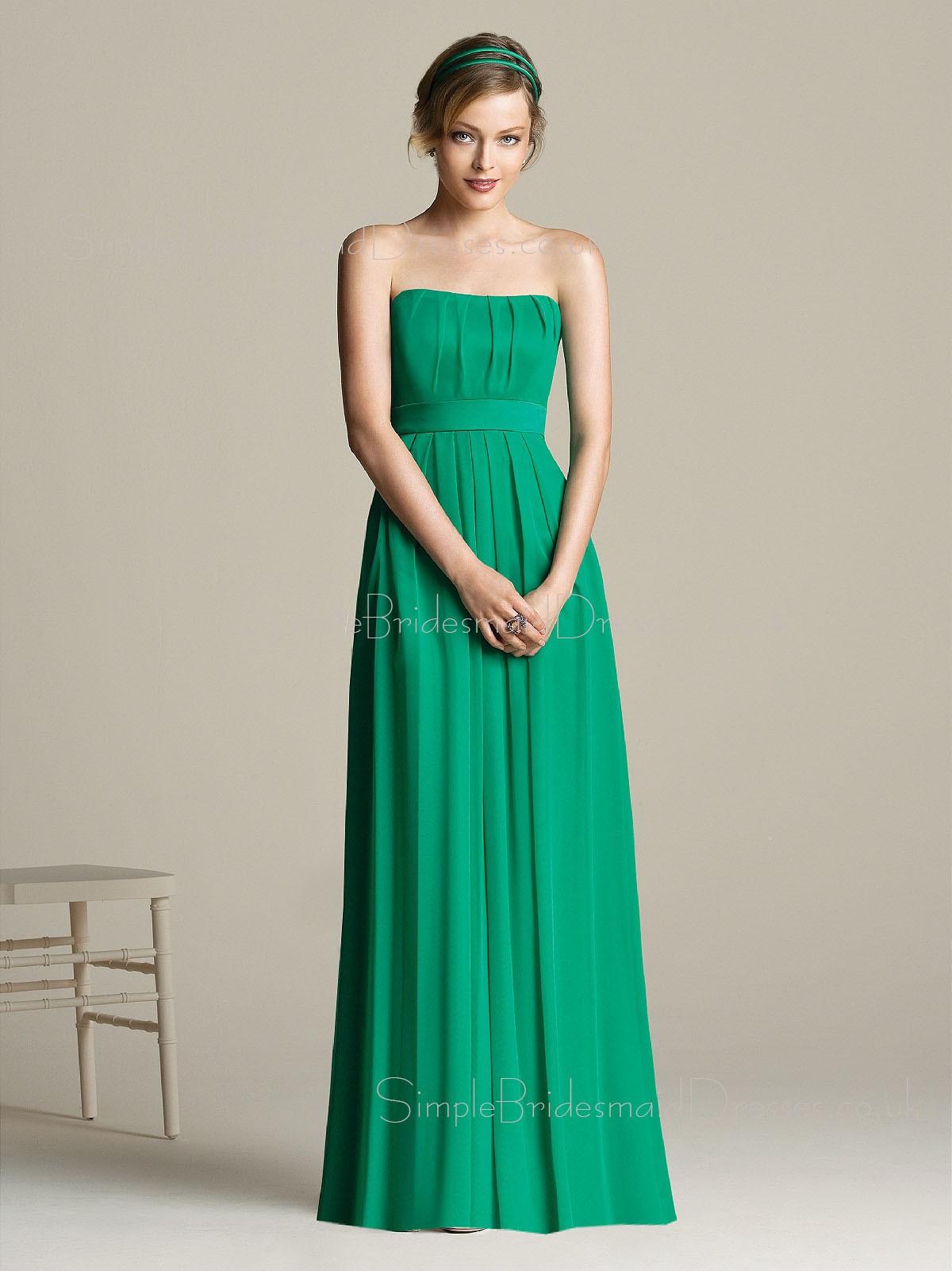 Chiffon draped ruffles a line empire strapless bridesmaid for Empire wedding dresses uk