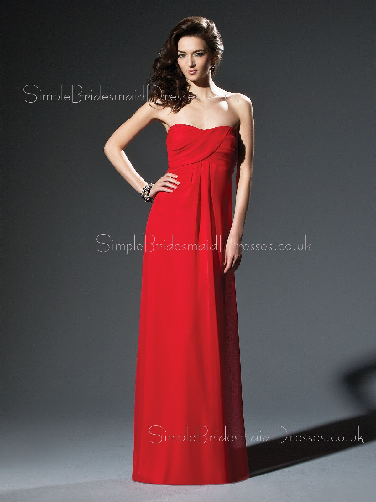 Sleeveless Backless Empire Red Sweetheart Bridesmaid Dress