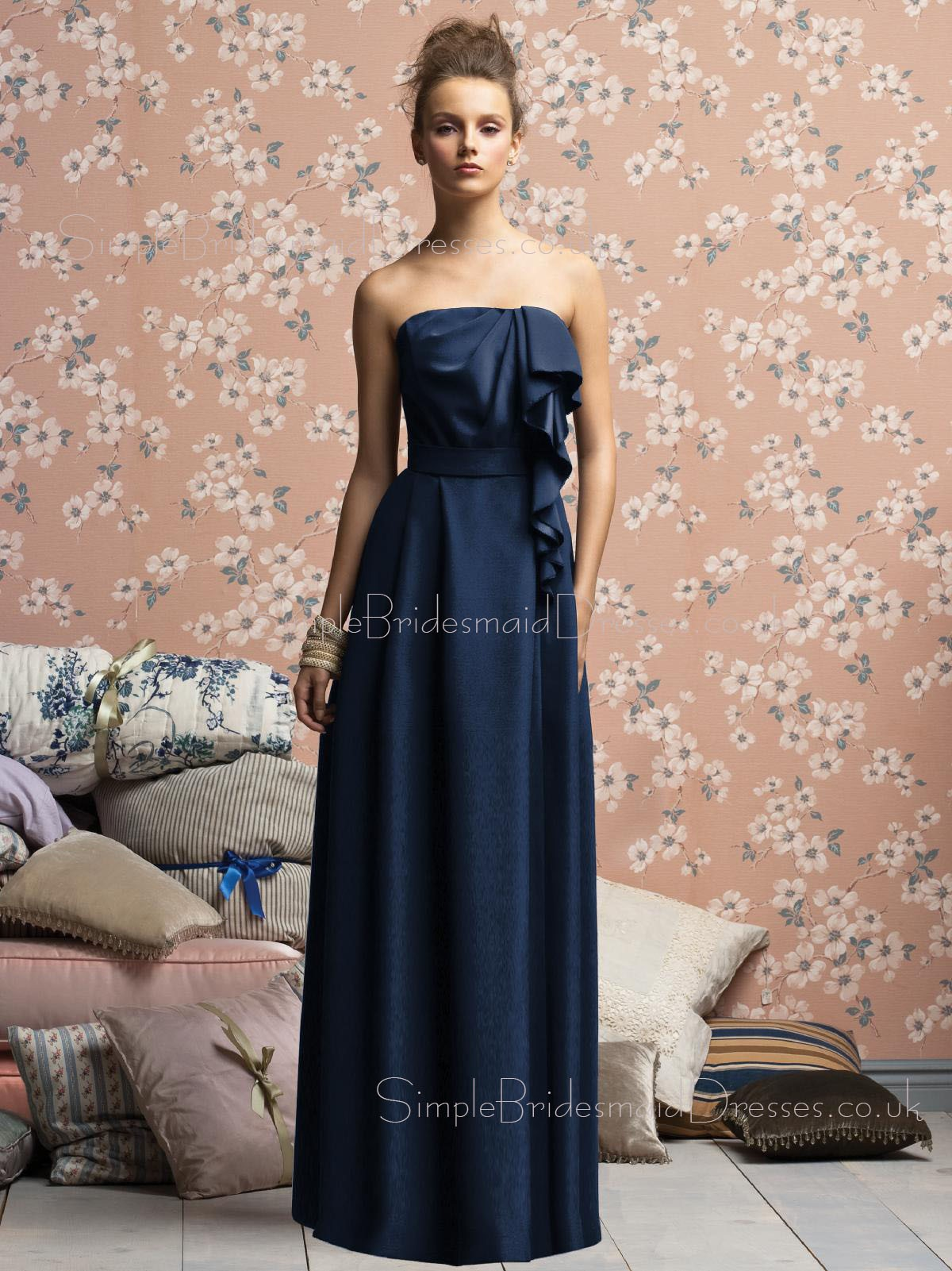 A line strapless zipper sleeveless dark navy bridesmaid dress ombrellifo Image collections