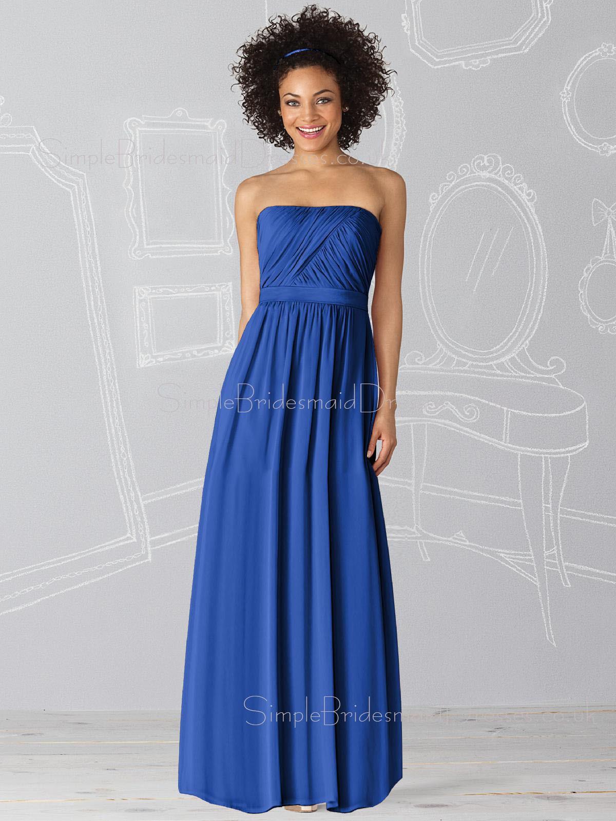 Sleeveless Royal Blue Floor length Chiffon Strapless