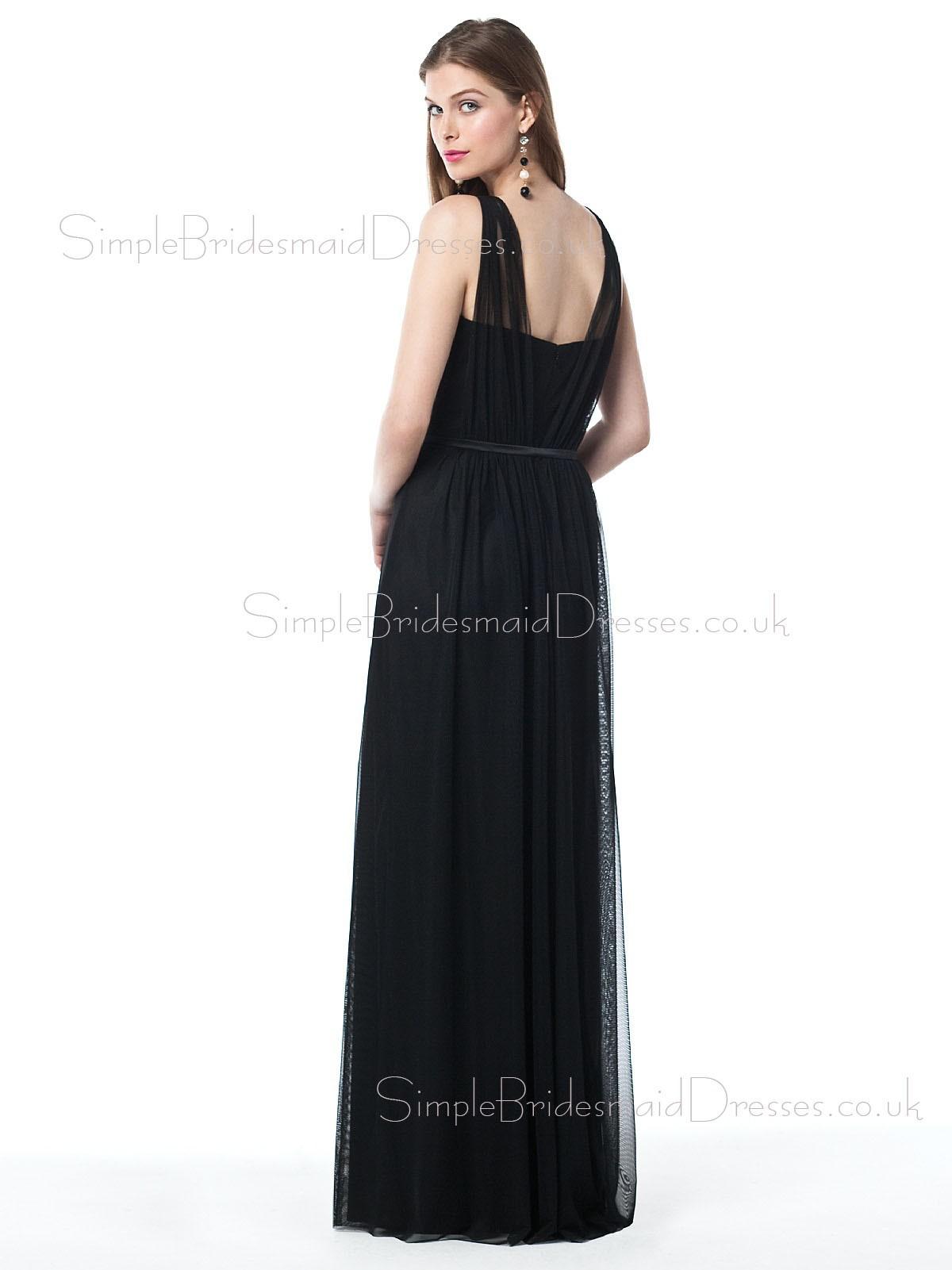 Floor length Straps Black Zipper Sheath Bridesmaid Dress